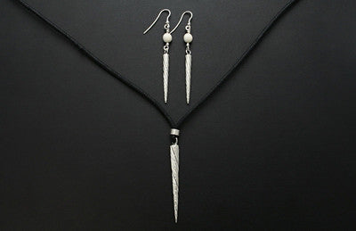 Narwhal Tusk Pendant and Earrings (Large)