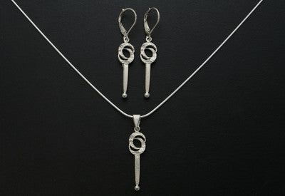 Double Crescent Moon Earrings and Pendant
