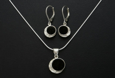 Frozen Moon Drop Pendant and Earrings
