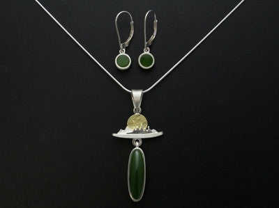 Summer Mountain Sun Pendant and Drop Earrings