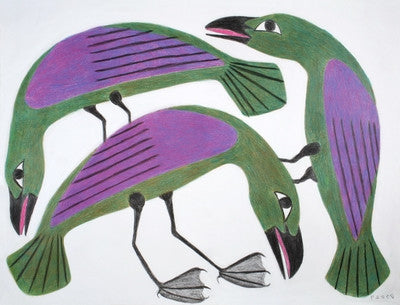 Untitled (Three Green & Purple Birds)
