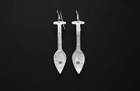 Aqua Whale Paddle Earrings