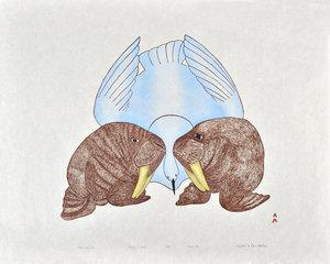 Walrus And Bird by Mayoreak Ashoona