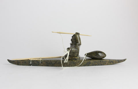Serpentine, Wood, Floss Hunter on Kayak by Noah Jaw Inuit Artist from Cape Dorset