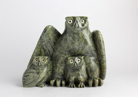 Serpentine Owl with Chicks by Joanasie Manning Inuit Artist from Cape Dorset