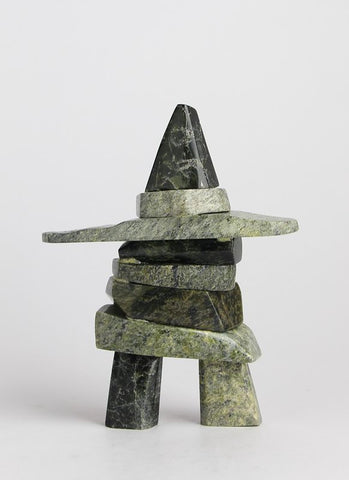 Serpentine Inukshuk by Mosesee Pootoogook Inuit Artist from Cape Dorset