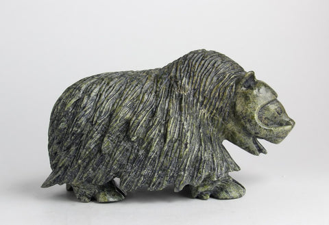 Serpentine Muskox by Kelly Etidloie Inuit Artist from Cape Dorset