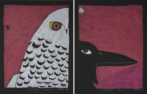 Untitled (The Owl & The Raven - Diptych)