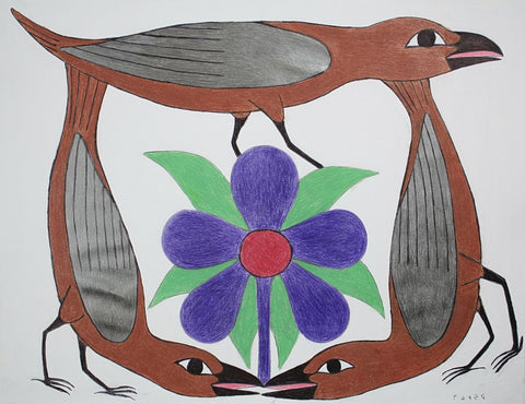 Untitled (Three Birds and Flower)