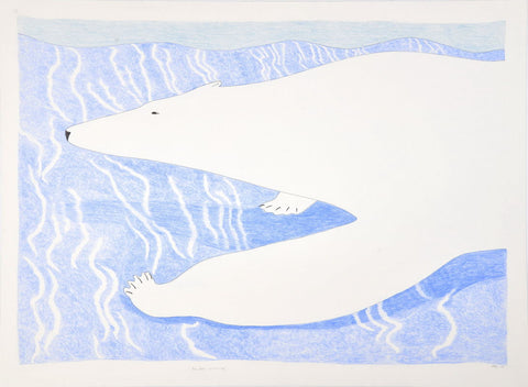 Polar Bear on Thin Ice by Ningiukulu Teevee Inuit Artist from Cape Dorset