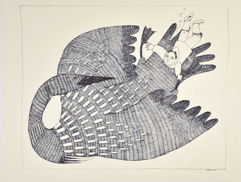 Untitled (Lumaq) by Ningiukulu Teevee Inuit Artist from Cape Dorset