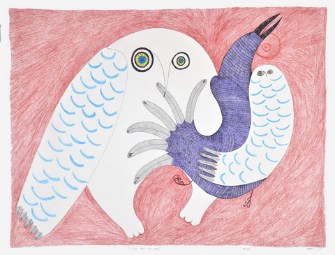 A Scene from the Past by Ningiukulu Teevee Inuit Artist from Cape Dorset