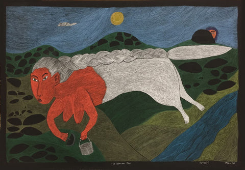 The Woman Fox by Ningiukulu Teevee Inuit Artist from Cape Dorset