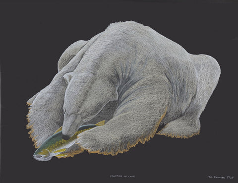 Feasting on Char by Tim Pitsiulak Inuit Artist from Cape Dorset