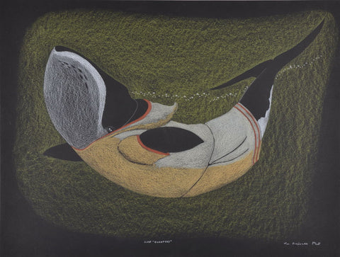 Close Quarters by Tim Pitsiulak Inuit Artist from Cape Dorset
