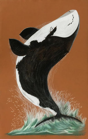 Breeching Whale by Tim Pitsiulak Inuit Artist from Cape Dorset