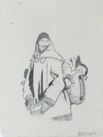 Man Carrying Sleeping Child on Pack