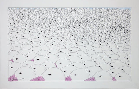 Untitled (Flock of Seagulls) by Johnny Pootoogook 225 Artist from Cape Dorset, 2015