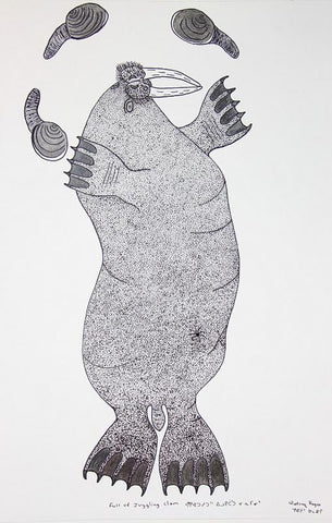 Full Of Juggling Clam by Qiatsuq Ragee 113 Artist from Cape Dorset, 2016