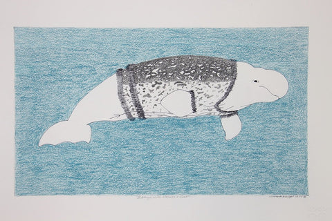 Beluga with Narwhale Coat by Olooreak Etungat 200 Artist from Cape Dorset, 2017