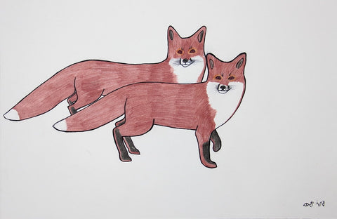 Untitled (Two Foxes) by Pauojoungie Saggiak 225 Artist from Cape Dorset, 2015