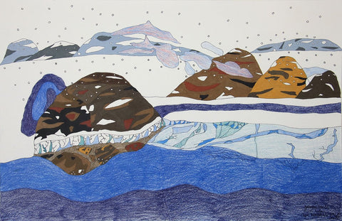 Untitled (Winter Scene) by Ooloosie Saila 200 Artist from Cape Dorset, 2017