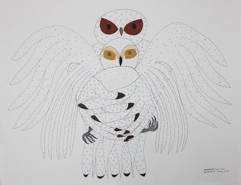 Untitled (Owl Embracing Owl) by Ooloosie Saila 400 Artist from Cape Dorset, 2017