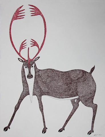 Untitled (Staring Caribou) by Quvianaqtuk Pudlat 350 Artist from Cape Dorset, 2017