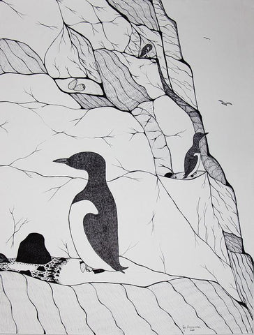 Untitled (Penguin On The Cliff) by Pee Ashevak 300 Artist from Cape Dorset, 2016