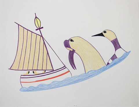 Untitled (Walrus & Loon Watching Boat)