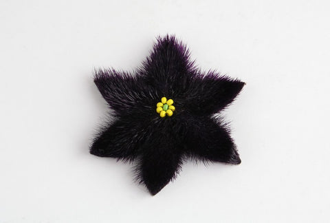 Flower Hair Clip (Purple with yellow beads)