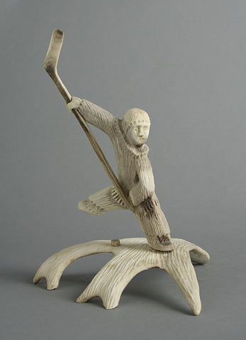 Hockey Player by Chesley Nibgoarsi Inuit Artist from Arviat