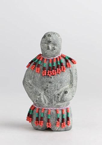Kneeling Beaded Figure by Annie Okalik Inuit Artist from Arviat