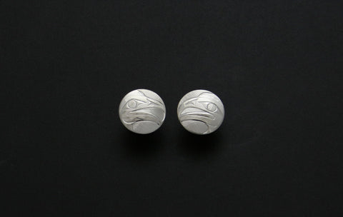 Round Eagle Stud Earrings