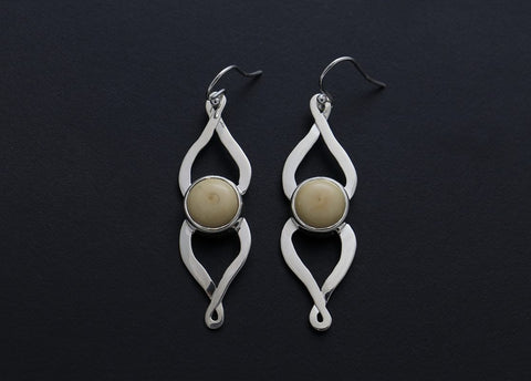 Silver, Narwhal Tusk Narwhal Ivory Earrings by Lavinia Van Heuvelen Inuit Artist from Rankin Inlet