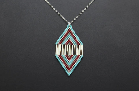 Diamond-Shaped Necklace (Blue & Red)
