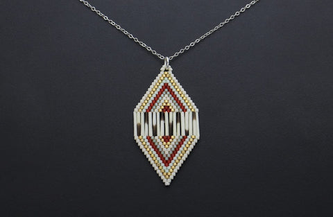 Diamond-Shaped Necklace (Red & White)