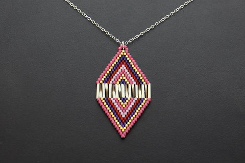 Diamond-Shaped Necklace (Red & Purple)