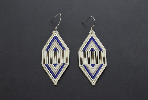 Large Diamon-Shaped Earrings (Blue & White)
