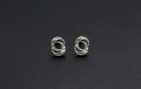 Double Crescent Moon Stud Earrings