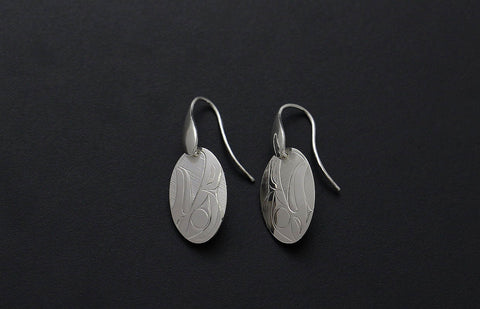 Oval Eagle Earrings