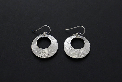 Round Cutout Whale Earrings