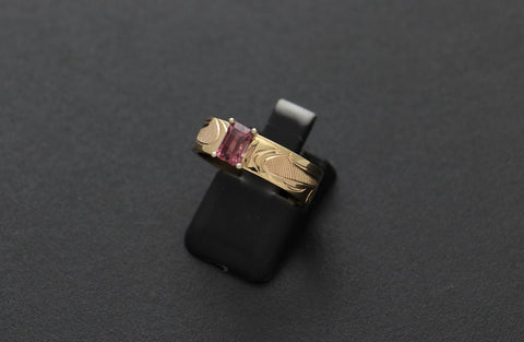 Gold Eagle Ring with Rhodolite Garnet