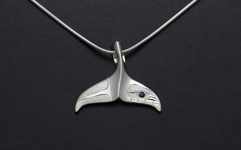 Whale Tail Pendant with Sapphire