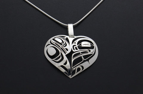 Raven and Frog Heart Pendant