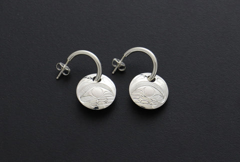 Whale Wire Hoop Stud Earrings