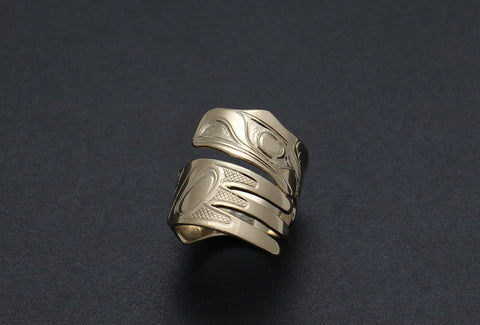 Raven Transforming Into Itself Ring