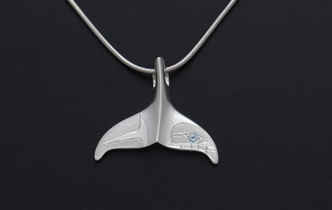 Whale Tail Pendant with Blue Topaz (Chain included)