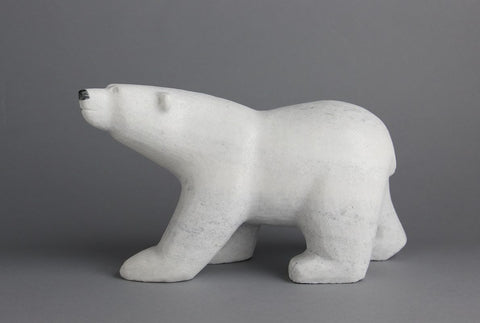 Marble Walking Bear by Johnny Manning Inuit Artist from Cape Dorset