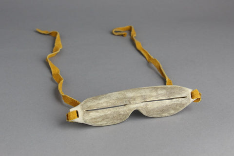 Antler, Leather Snow Goggles by Danny Etooangat Inuit Artist from Pangnirtung